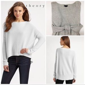 Theory Efina cotton-cashmere hi-low ribbed sweater